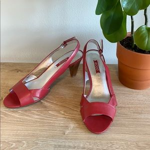 Ecco Red Leather Slingback Wood Heel Pumps, 8/ 39